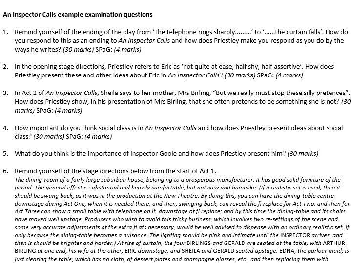 Inspector Calls exam questions