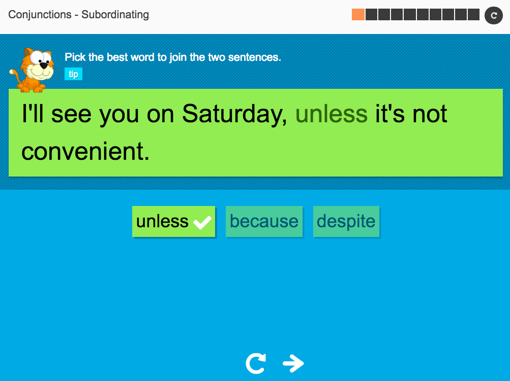 Subordinating conjunctions: Conjunctions - Interactive Activity - KS3 Spag