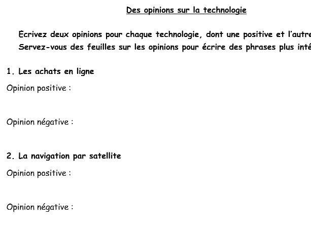 Des opinions sur la technologie