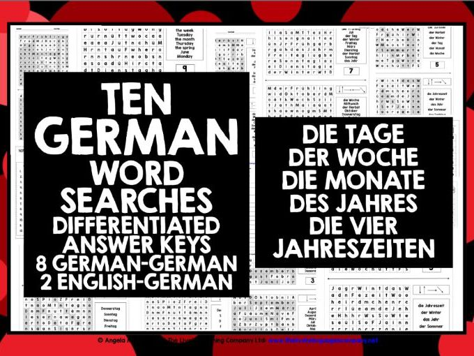 GERMAN DAYS MONTHS SEASONS DIFFERENTIATED WORD SEARCHES