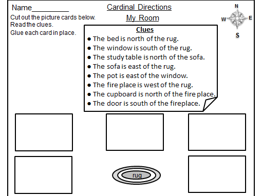 Cardinal Directions Cut & Paste Activity Worksheets: