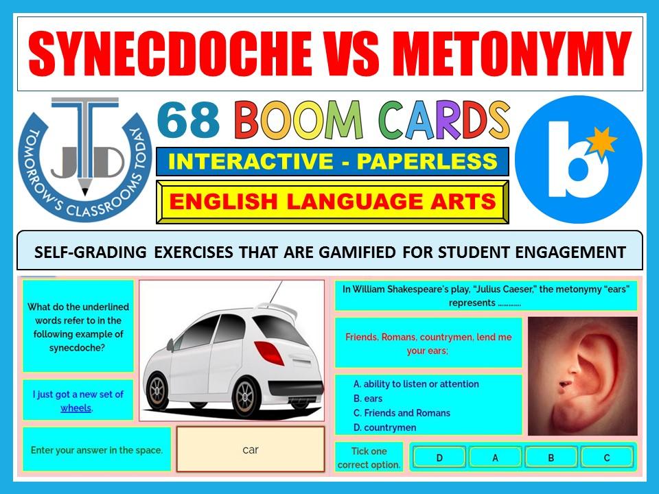SYNECDOCHE VS METONYMY - FIGURATIVE LANGUAGE: 68 BOOM CARDS