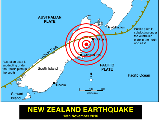 A Map Of New Zealand.New Zealand Earthquake 13th November 2016