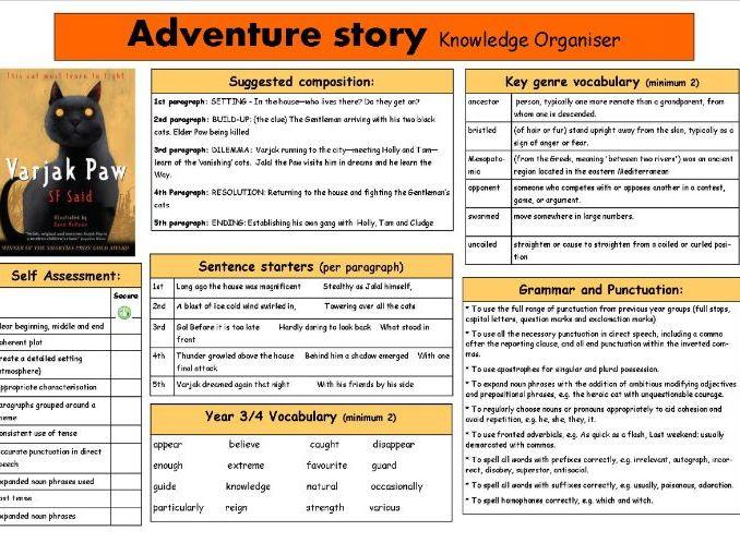 Adventure Story Knowledge Organiser based on Varjak Paw