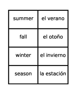 Días, Meses, Estaciones (Days Months Seasons in Spanish) Concentration games