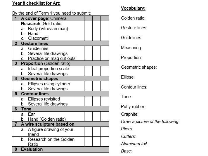 KS3 AFL Checklist and vocabulary for Art and Design Term 1