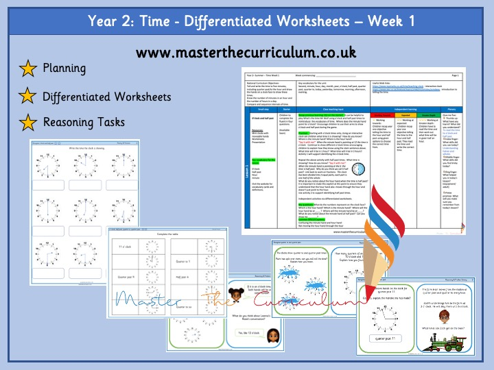 Year 2- Differentiated Time Worksheets - White Rose Style
