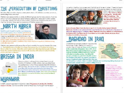 Christianity: Persecution of Christians: Differentiated Information and Activity Sheets