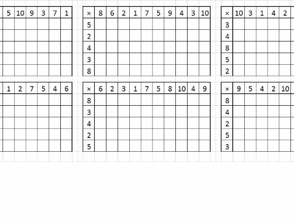 Times tables grid - random generator
