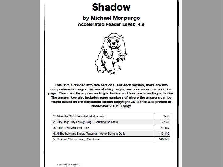 Shadow by Michael Morpurgo - Literature Unit - Reading Comprehension Guide