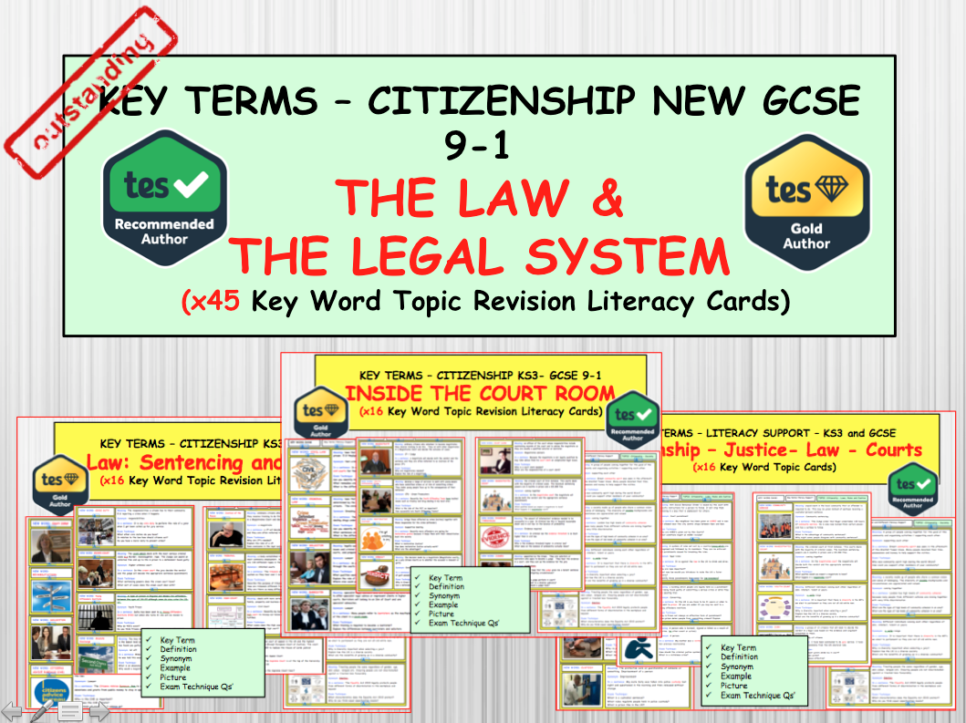 The Law and the English Legal Justice System Literacy  Key term word Revision topic Cards for  GCSE CITIZENSHIP 9-1