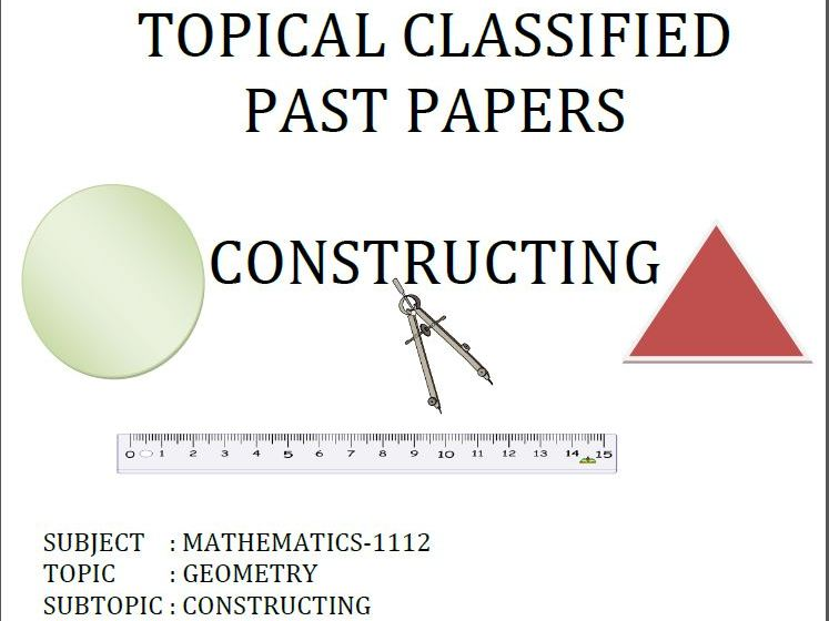 Cambridge Lower Secondary Checkpoint Topical ClassifiedPast Papers-Mathematics-GEOMETRY-Constructing