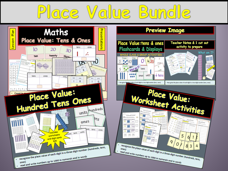 Place Value/Partitioning: Hundreds Tens and Ones/Units, Presentation, Plans Worksheets, Display Bundle