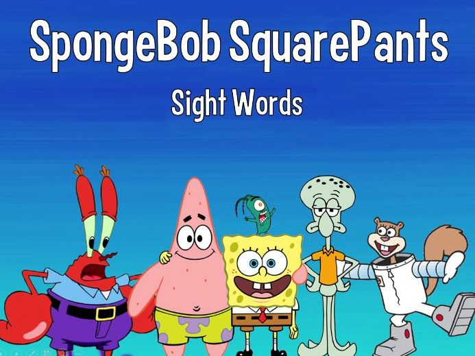 Sight Words SpongeBob Game - 24 High Frequency Words - K-1 - Picture Prompt