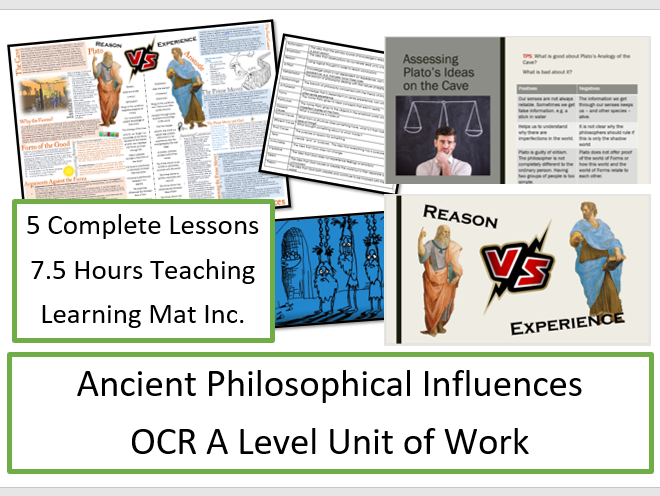 OCR Philosophy of Religion: Ancient Philosophical Influences - Unit of Work and Learning Mat