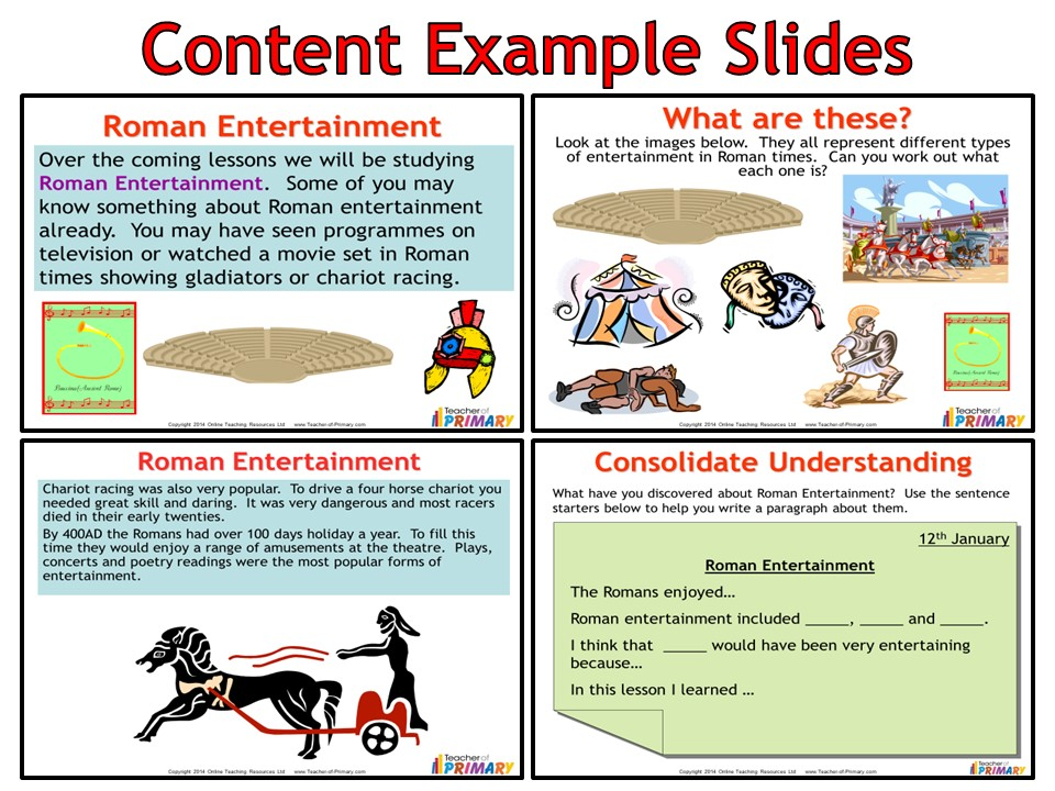 Roman Entertainment (Powerpoint With Worksheets)