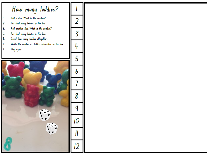 Kindergarten addition activity using concrete objects