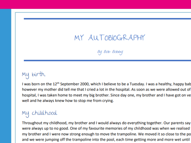 Writing an autobiography planning, example and task - great for distance, home or online learning