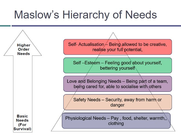 Motivation and Maslow's hierarchy