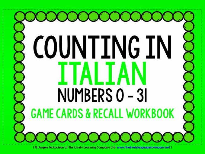 ITALIAN NUMBERS 0-31 - GAME CARDS & RECALL WORKBOOK