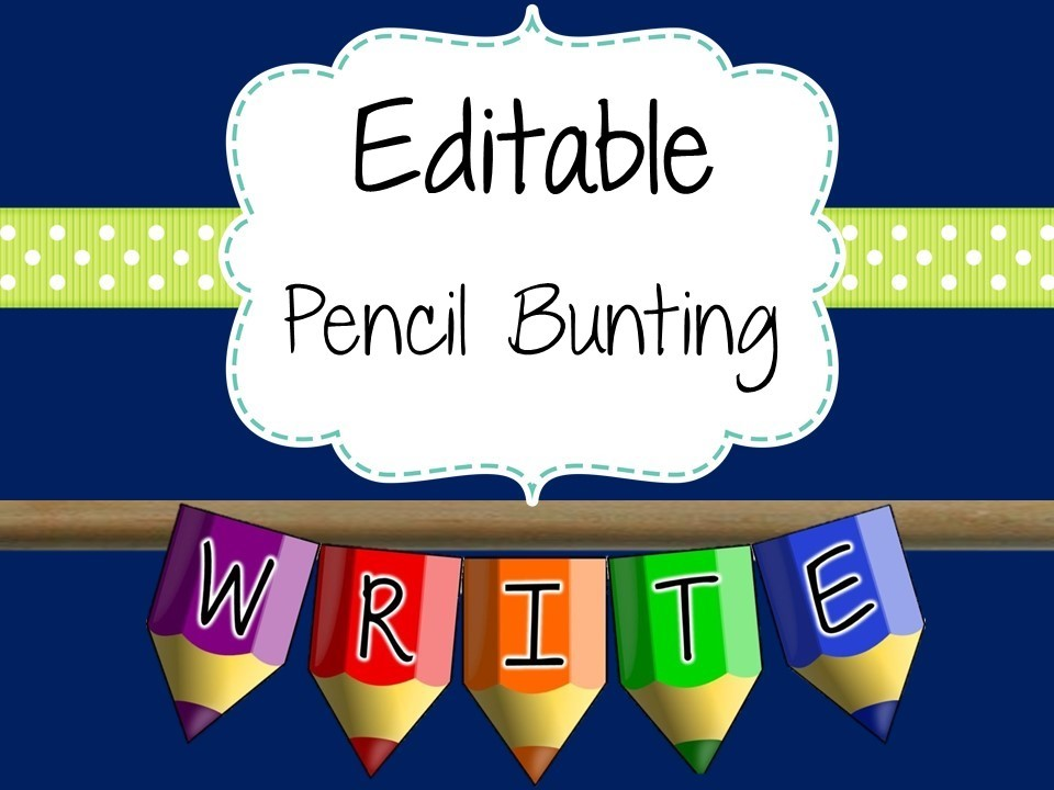 Editable Pencil Bunting