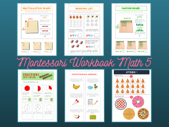 Montessori Math - Fraction/Word Problems Workbook Level 5 for ages 5-8