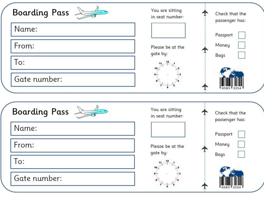 EYFS Airport Role Play - Boarding Passes - Writing opportunity