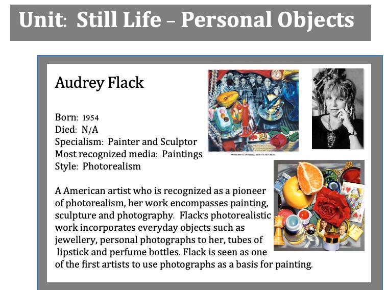 GCSE Art - Still Life (Personal Objects) Artists Knowledge Organiser