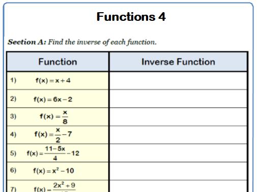 Inverse Functions 9-1 GCSE Maths Worksheet