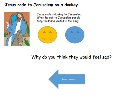Interactive quiz and story for- 'The Easter Story' EYFS/KS1