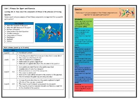 BTEC Sport (Level 2)- Unit 1 – Importance of Fitness Structure Strip (Long Answer Question)
