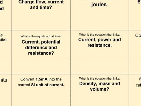 AQA Physics unit 1: Formulas challenge grid