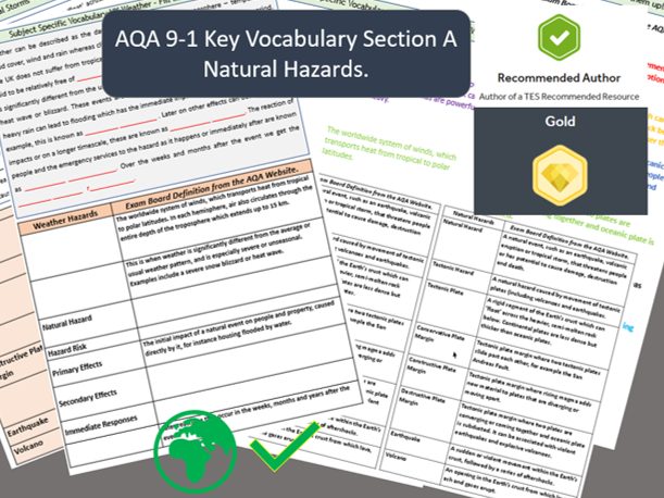 GCSE AQA 9-1 Geography Section A Subject Specific Vocabulary Natural Hazards Bundle