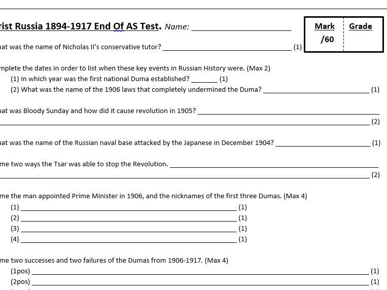 AQA A-Level Tsarist & Communist Russia Lesson 63 (End of Year 12 Test)