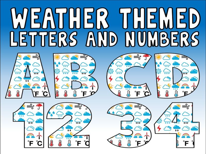 Weather Symbols Letters Numbers Teaching Resources Display Science