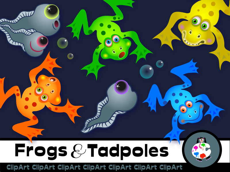 Frogs and Tadpoles Clip Art Set