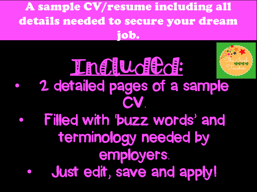 A sample CV: for securing your dream job.