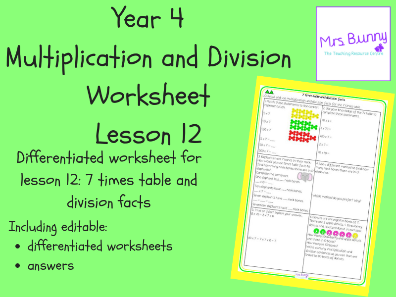 12. Multiplication and Division: 7 times table and division facts worksheets (Y4)