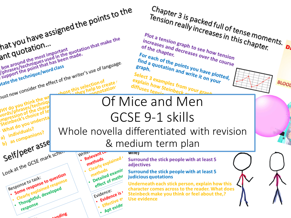 Of Mice and Men Bundle Whole novella fully differentiated with context resources including a revision guide & medium term plan