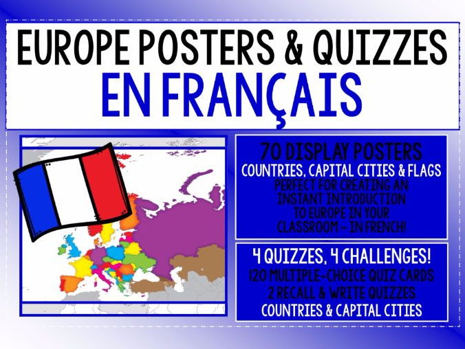FRENCH - EUROPE POSTER & QUIZ PACK - EN FRANÇAIS !
