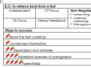 SKILL BASED KS2 English Success Criteria - various