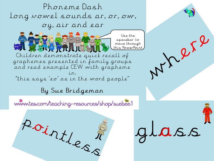 Phoneme dash 7 long vowel sounds ar, or, ow, oy, air and ear