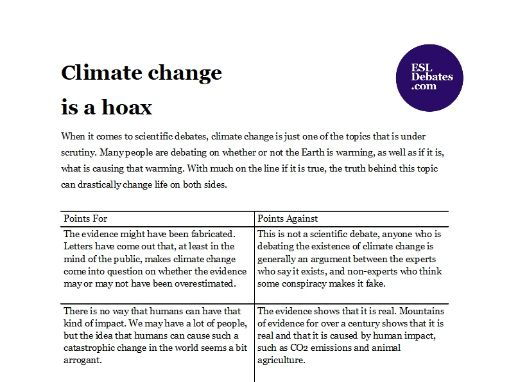 Debate Lesson Plan - Climate change is a hoax