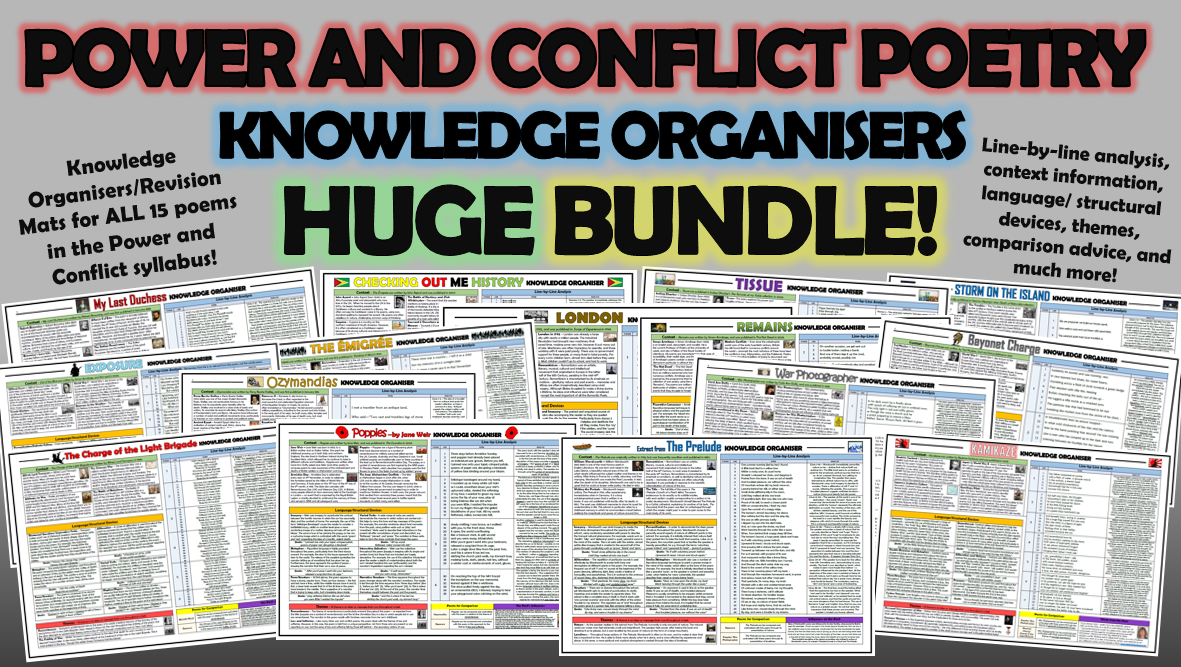 Power and Conflict Poetry Knowledge Organisers Huge Bundle!