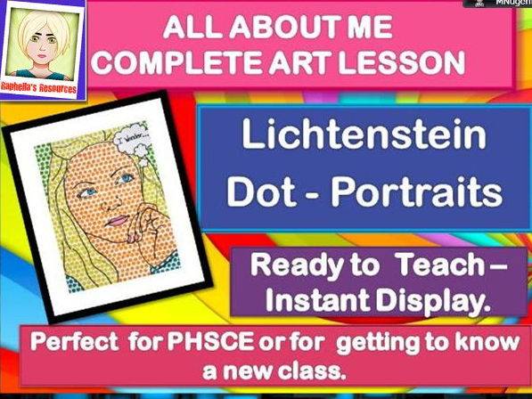NEW CLASS/TRANSITION DAY - ALL ABOUT ME -  Lichtenstein Portraits-  COMPLETE ART LESSON  KS2