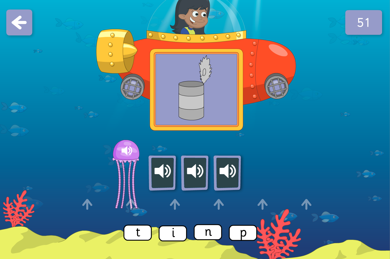 Phoneme Spelling  - Underwater Words Interactive Game - Phase 2