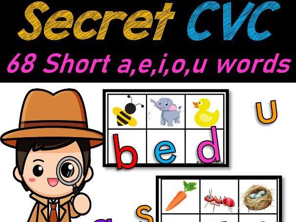 Secret CVC Words (Short Vowels a,e,i,o,u) & Beginning Letter Sounds Match
