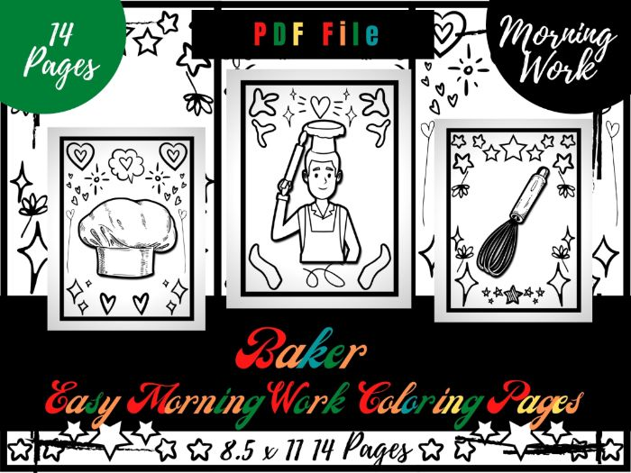 Baker Easy Morning Work Colouring Pages, Easy Printable Colouring Sheets PDF