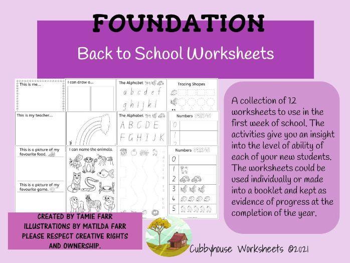 Foundation Back to School Worksheets