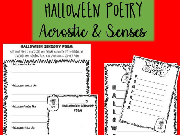 HALLOWEEN POETRY - senses and acrostic poetry